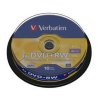 CD(R)W, DVD(R)W en blu-Ray - Verbatim DVD+RW 4X, 4.7GB Branded Matt Zilver,10 Pack - 43488