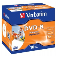 CD(R)W, DVD(R)W en blu-Ray - Verbatim - 10 x DVD-R - 4.7 GB 16x - breed oppervak dat geschikt is om fotos op af te drukken - jewel case - 43521