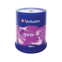 CD(R)W, DVD(R)W en blu-Ray - Verbatim - 100 x DVD+R - 4.7 GB 16x - dof zilver - spindel - 43551